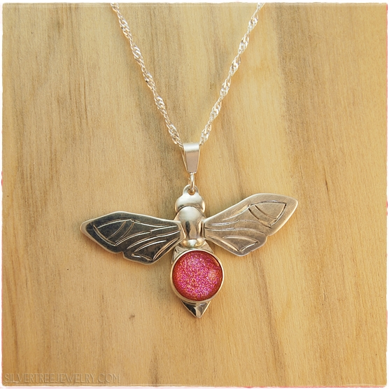 104 8425 sterling silver honey bee pendant with pink dichroic glass aloadofball Images