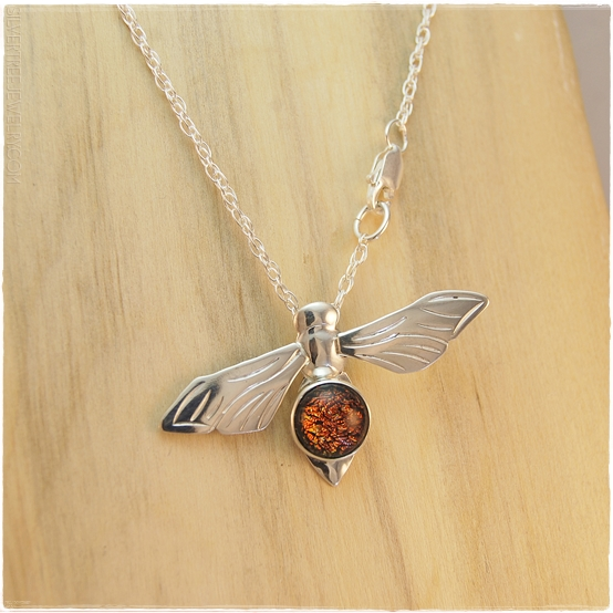 104 8438 sterling silver and dark red dichroic glass honey bee pendant aloadofball Images